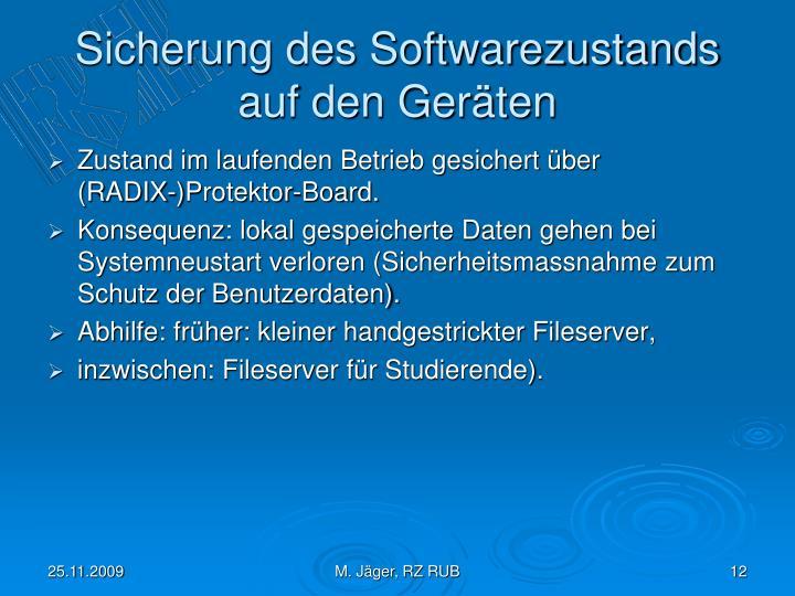 Sicherung des Softwarezustands auf den Geräten