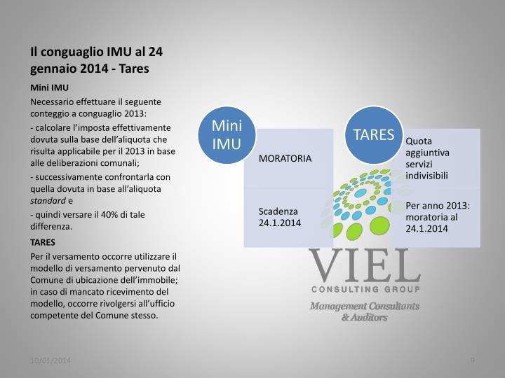 Il conguaglio IMU al 24 gennaio 2014 -