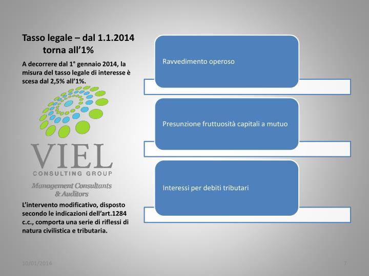 Tasso legale – dal 1.1.2014 torna all'1%