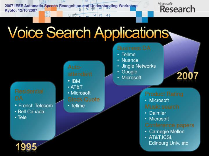 Voice search applications