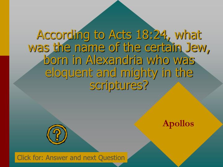 According to Acts 18:24, what was the name of the certain Jew, born in Alexandria who was eloquent and mighty in the scriptures?
