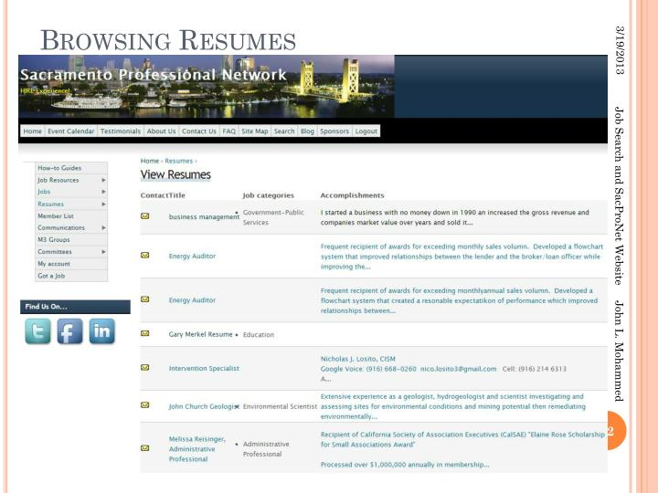 Browsing Resumes