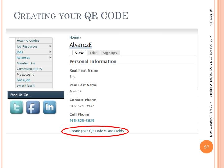 Creating your QR CODE