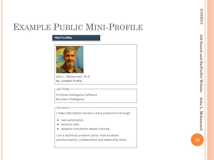 Example Public Mini-Profile