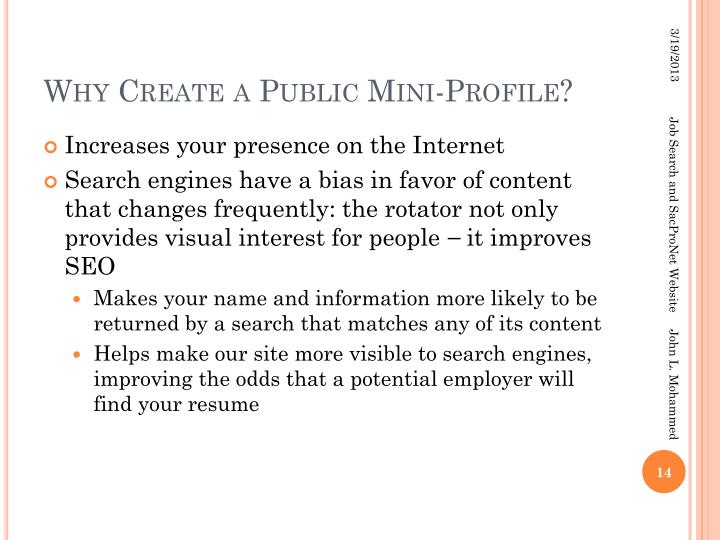 Why Create a Public Mini-Profile?