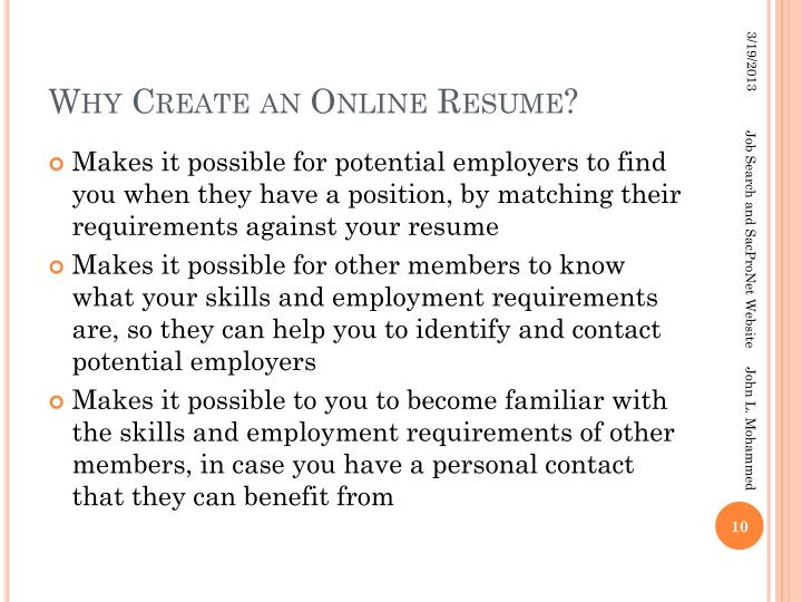 Why Create an Online Resume?