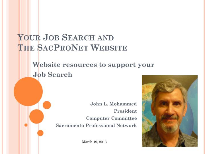Your job search and the sacpronet website