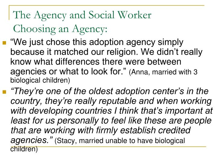 The Agency and Social Worker