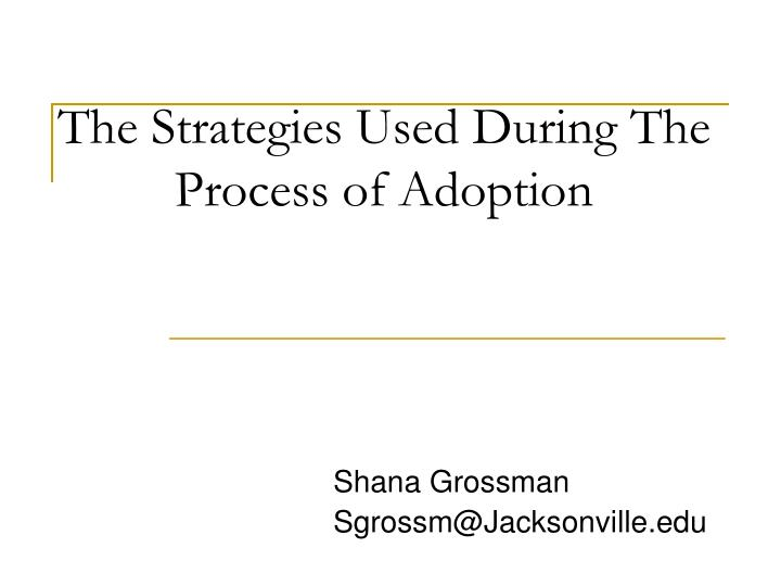 The strategies used during the process of adoption