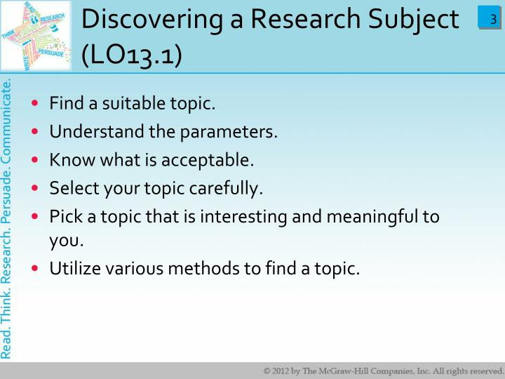 Discovering a research subject lo13 1