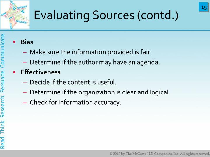 Evaluating Sources (contd.)