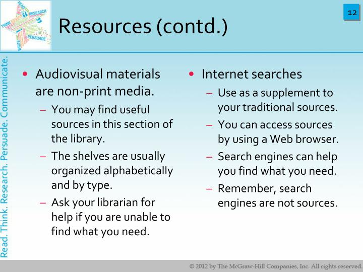 Resources (contd.)