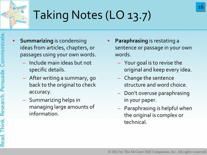 Taking Notes (LO 13.7)