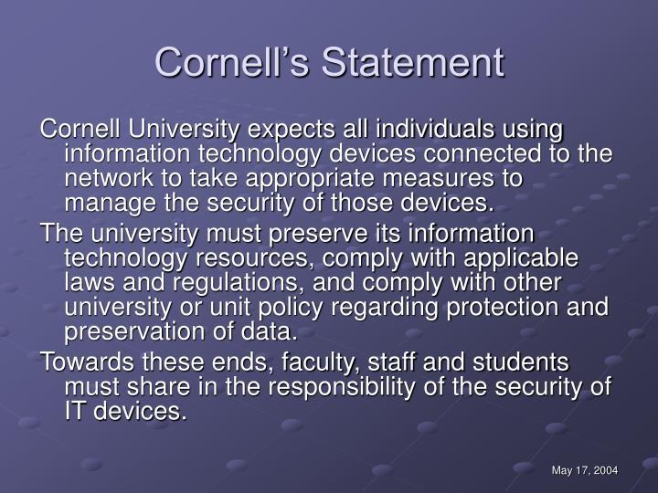 Cornell's Statement