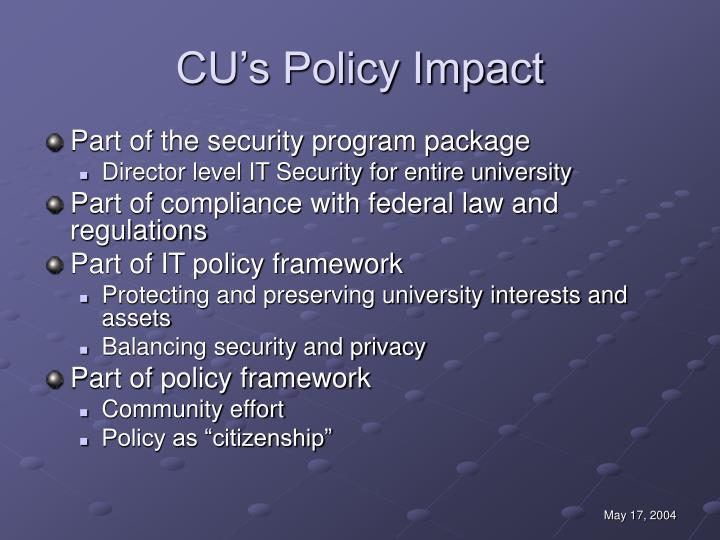 CU's Policy Impact