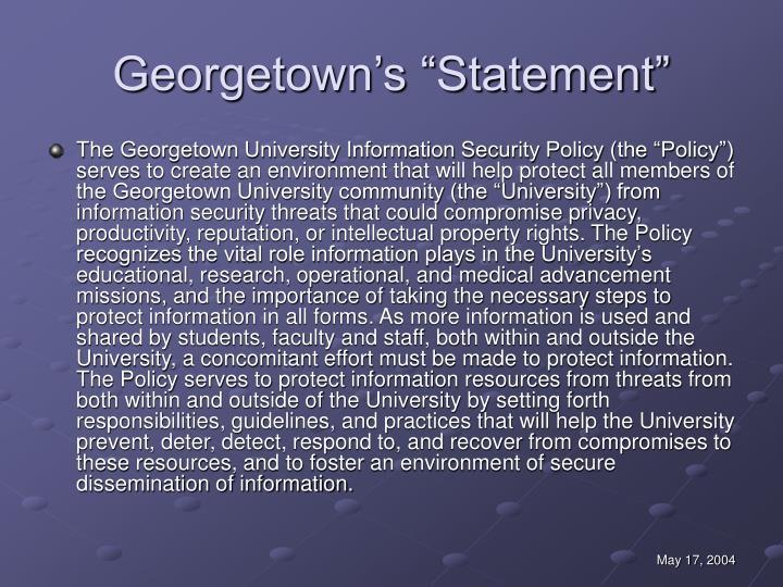"""Georgetown's """"Statement"""""""