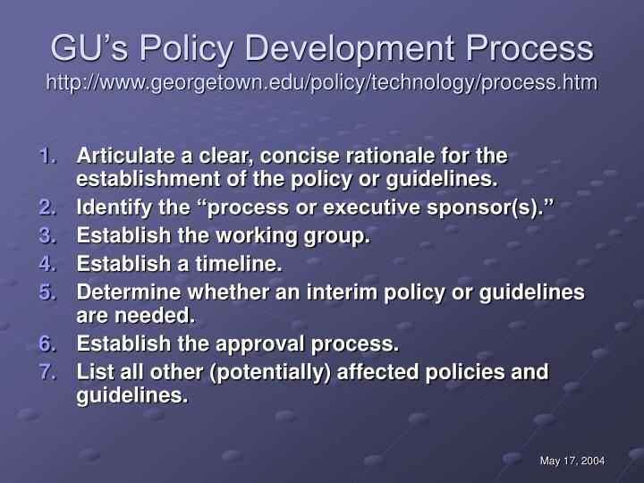 GU's Policy Development Process