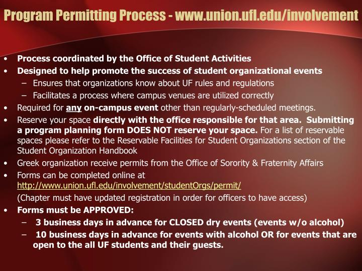 Program Permitting Process - www.union.ufl.edu/involvement