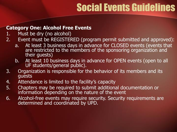 Social Events Guidelines