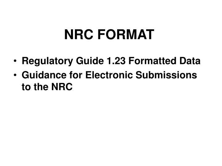 NRC FORMAT