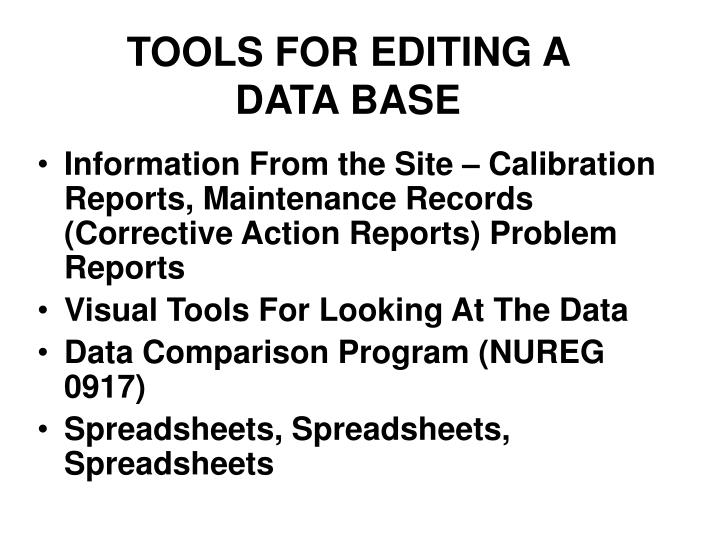 TOOLS FOR EDITING A