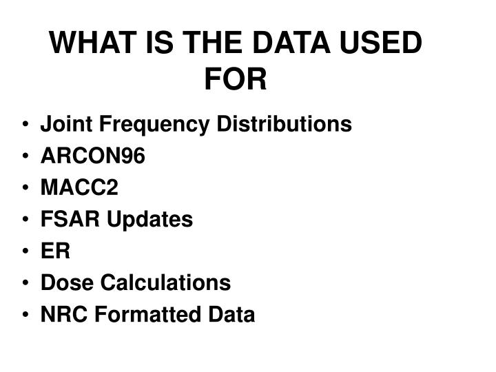 WHAT IS THE DATA USED FOR