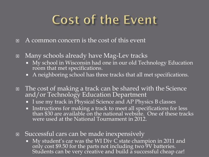 Cost of the Event