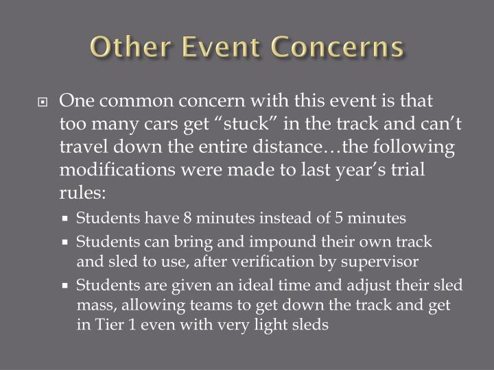 Other Event Concerns
