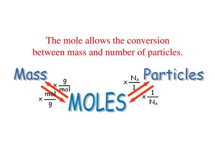 The mole allows the conversion