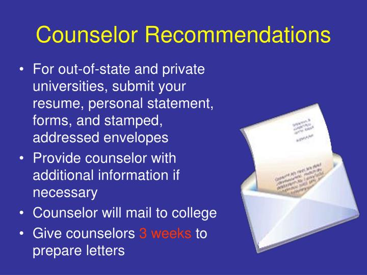 Counselor Recommendations