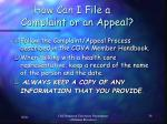 how can i file a complaint or an appeal