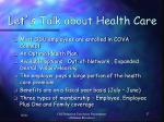 let s talk about health care