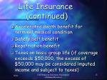 life insurance continued