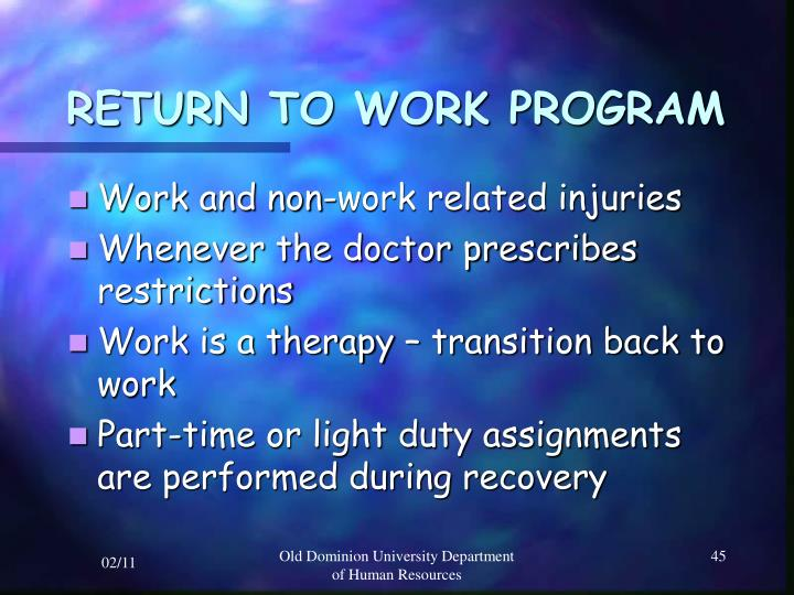 RETURN TO WORK PROGRAM