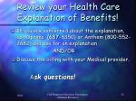 review your health care explanation of benefits