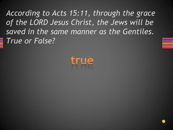 According to Acts 15:11, through the grace of the LORD Jesus Christ, the Jews will be saved in the same manner as the Gentiles.  True or False?