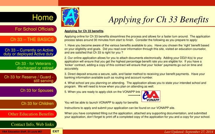 Applying for Ch 33 Benefits