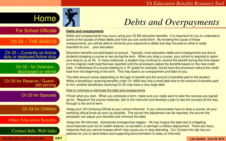 Debts and Overpayments