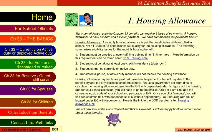 I: Housing Allowance