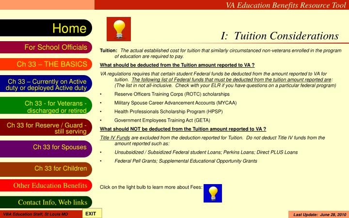 I:  Tuition Considerations