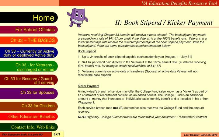 II: Book Stipend / Kicker Payment