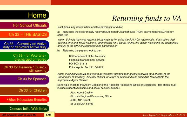 Returning funds to VA