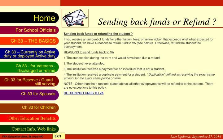 Sending back funds or Refund ?