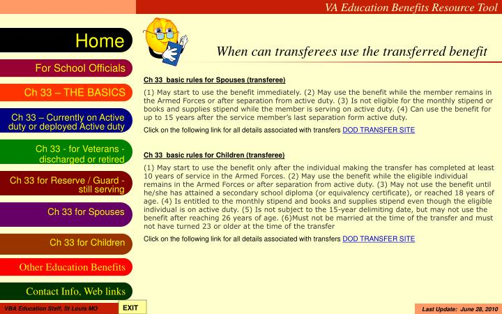 When can transferees use the transferred benefit