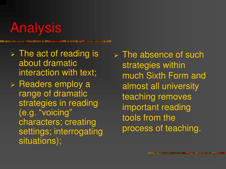 The act of reading is about dramatic interaction with text;