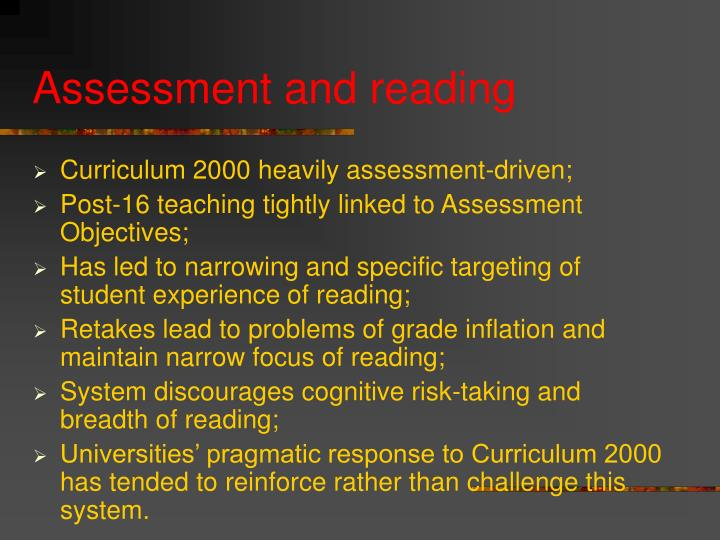 Assessment and reading