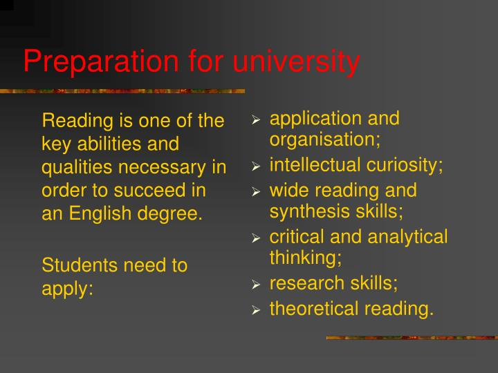 Reading is one of the key abilities and qualities necessary in order to succeed in an English degree.