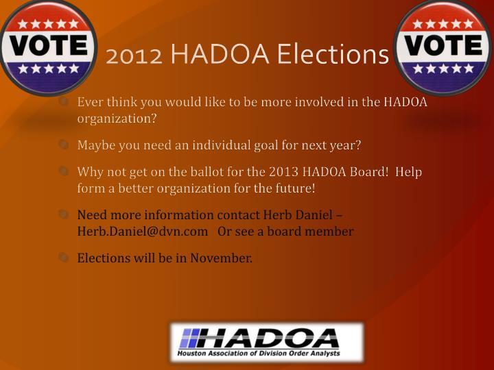 2012 HADOA Elections