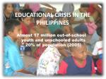 almost 17 million out of school youth and unschooled adults 20 of population 2005