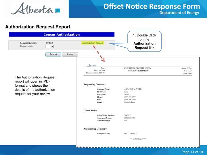 Authorization Request Report